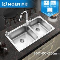 Moen Kitchen Black Cabinet Handles Moen摩恩厨房水槽套装配gn68004抽拉龙头304不锈钢洗菜双盆套餐 1499元 Moen摩恩厨房水槽套装