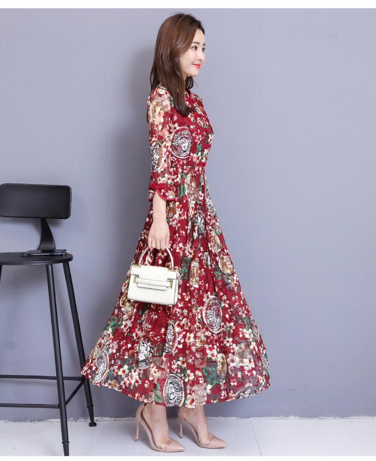 b76ccbb37996fed 2019 Новое весеннее женское платье с кружевами Улучшенный чёнсам длинные  платья на пуговицах темно-синее вино 2027 - asifiqbal.me