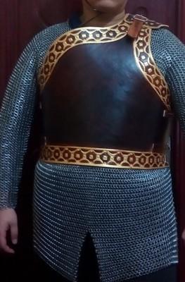 皮雕胸甲/騎士加強胸甲/皮盔甲/單肩胸甲/鑰匙鎖加強甲