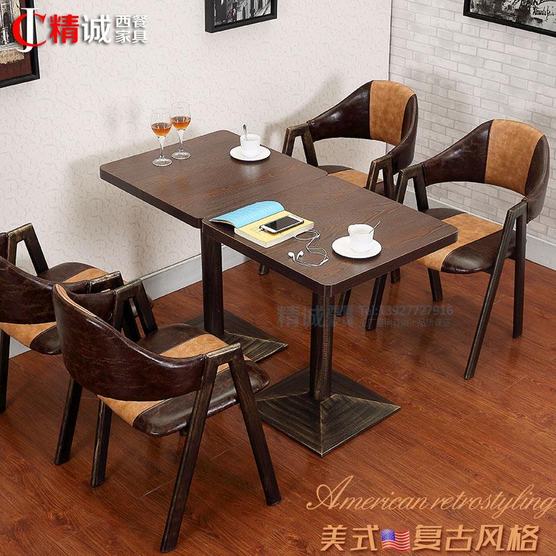 custom restaurant tables and chairs aqua blue plastic adirondack usd 54 42 retro cafe theme western combination milk tea shop dessert