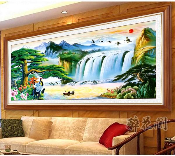 painting for living room feng shui flooring ideas tile self adhesive fake frame water and wealth scenery landscape garden sofa wall decoration mural