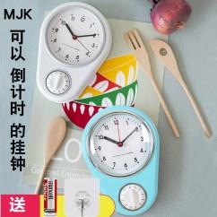 Blue Kitchen Wall Clocks Mittens Mjk挂钟静音简约创意时钟小钟表倒计时儿童定时提醒器厨房小挂钟 蓝色厨房挂钟