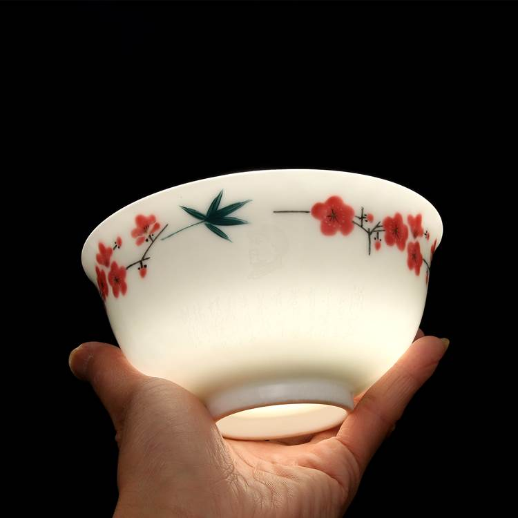 70-80年代 國營老廠 毛瓷 7501 水點桃花碗 7501瓷 古董瓷器收藏