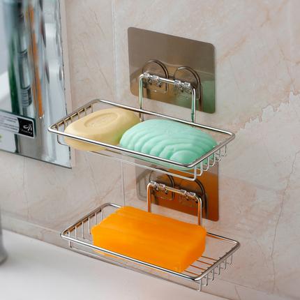 kitchen soap caddy moen hands free faucet 吸盘肥皂盒免打孔不锈钢香皂盒沥水创意香皂架厨房卫生间壁挂