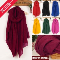 Wholesale Korean cotton and linen scarves new ladies shawl ...