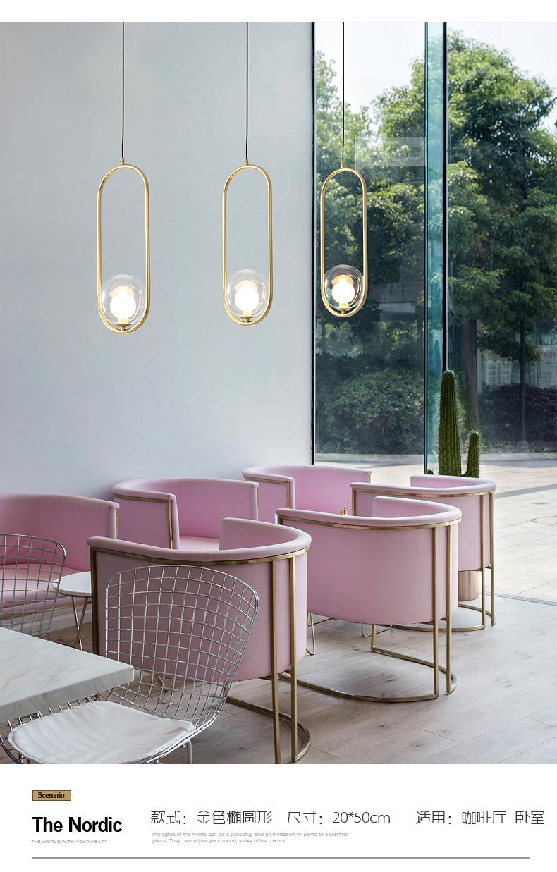 北歐臥室牀頭吊燈簡約現代玻璃圓球走道燈創意咖啡廳吧檯單頭吊燈