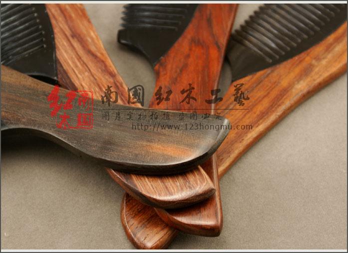 酸枝木梳子+牛角梳。天然牛角梳子