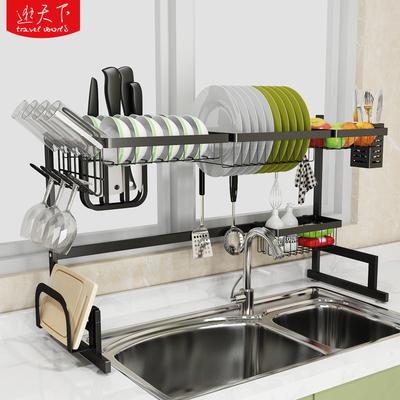 黑色水槽架瀝水架廚房水槽收納層架不鏽鋼洗碗池放碗筷架盤子置物架