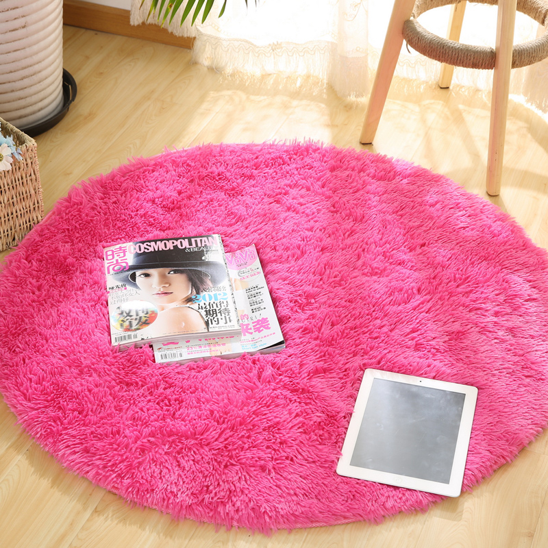 swivel chair on carpet covers for gliders usd 12 73 round solid color simple silk mat bedroom study table hanging basket computer