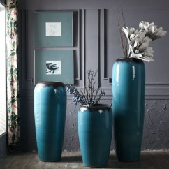 Large Vase For Living Room Pictures Of Small Decorating Ideas Usd 128 21 Japanese Minimalist Modern Ceramic Ornaments Flower Floor Pottery Hotel Home Decoration Blue