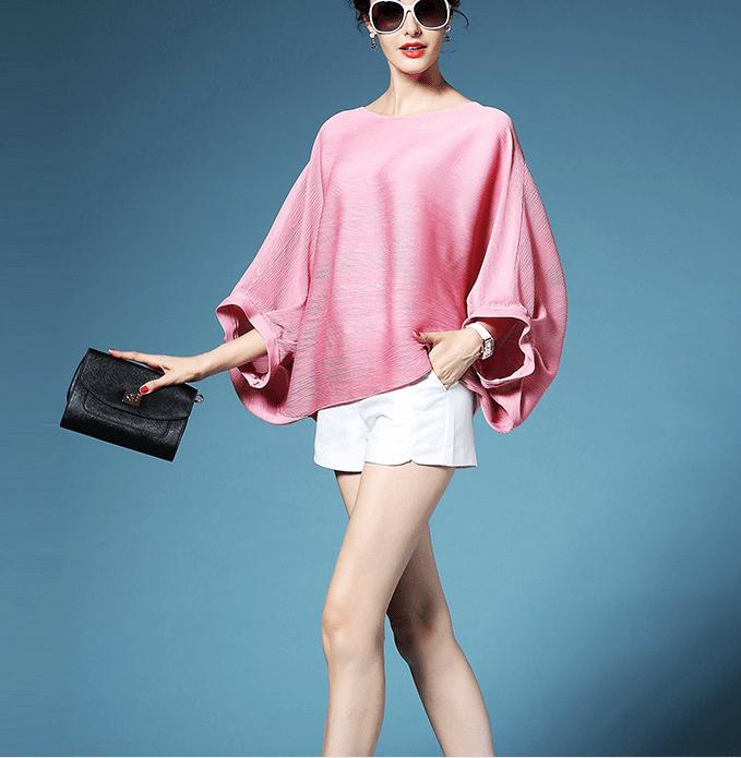 2020新款女裝三宅一生衣服褶皺上衣時尚大碼女裝寬松蝙蝠袖T恤-阿里巴巴