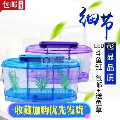 迷你小魚缸水族箱 鬥魚盒鬥魚缸辦公室養魚小型熱帶魚缸包郵