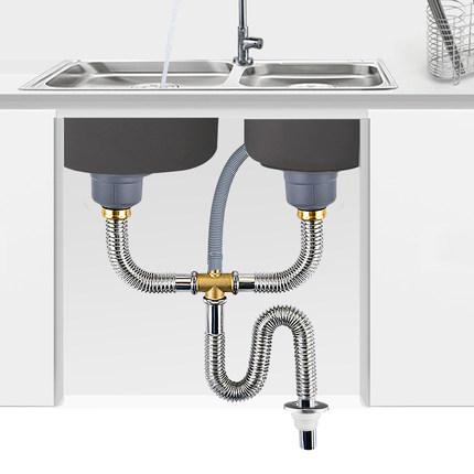 kitchen sink drain pipe flooring ideas for 洗菜盆下水管配件厨房水槽排水管洗碗池双槽下水器套装不锈钢管道 tmall 洗菜盆下水管配件厨房水槽排水管洗碗池双槽下水