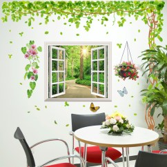 Wall Stickers Living Room Ideas To Decorate My Usd 14 03 3d Wallpaper Self Adhesive Fake Window Trees Small Fresh