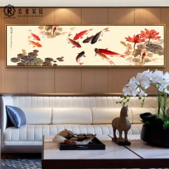Painting For Living Room Feng Shui Zen Furniture Usd 85 75 Nine Fish Map Decorative Lucky New Chinese Mural Entrance Bedroom Paintings