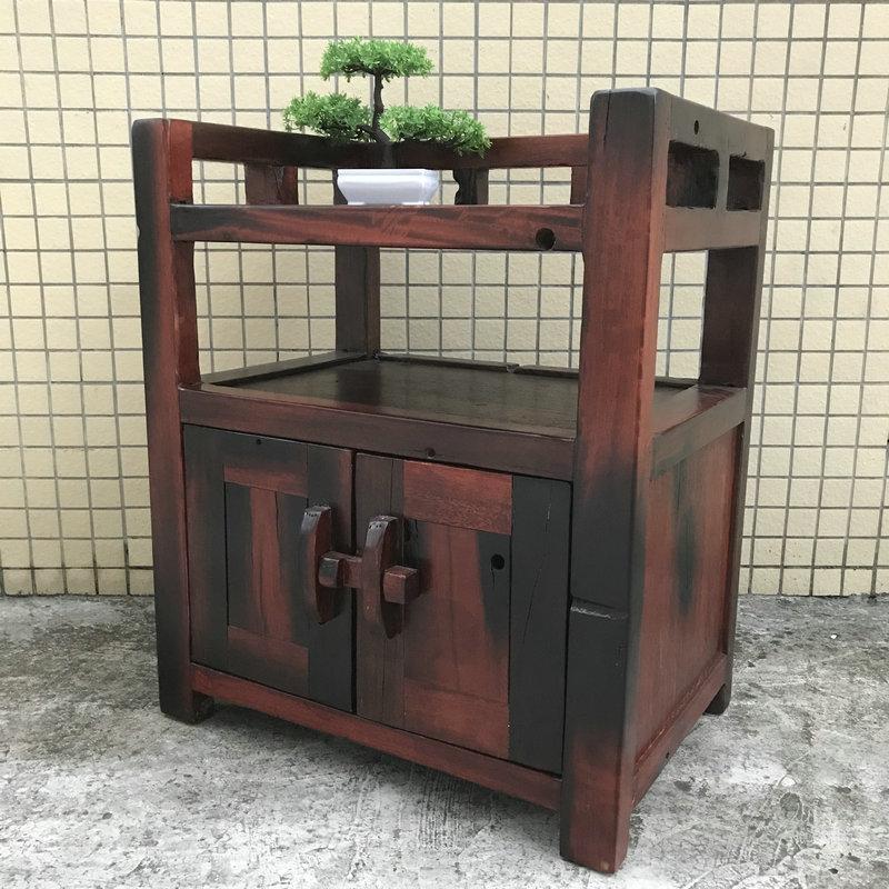 老船木中式廚房餐櫃客廳全實木茶桌茶水櫃家用經濟型簡約置物架