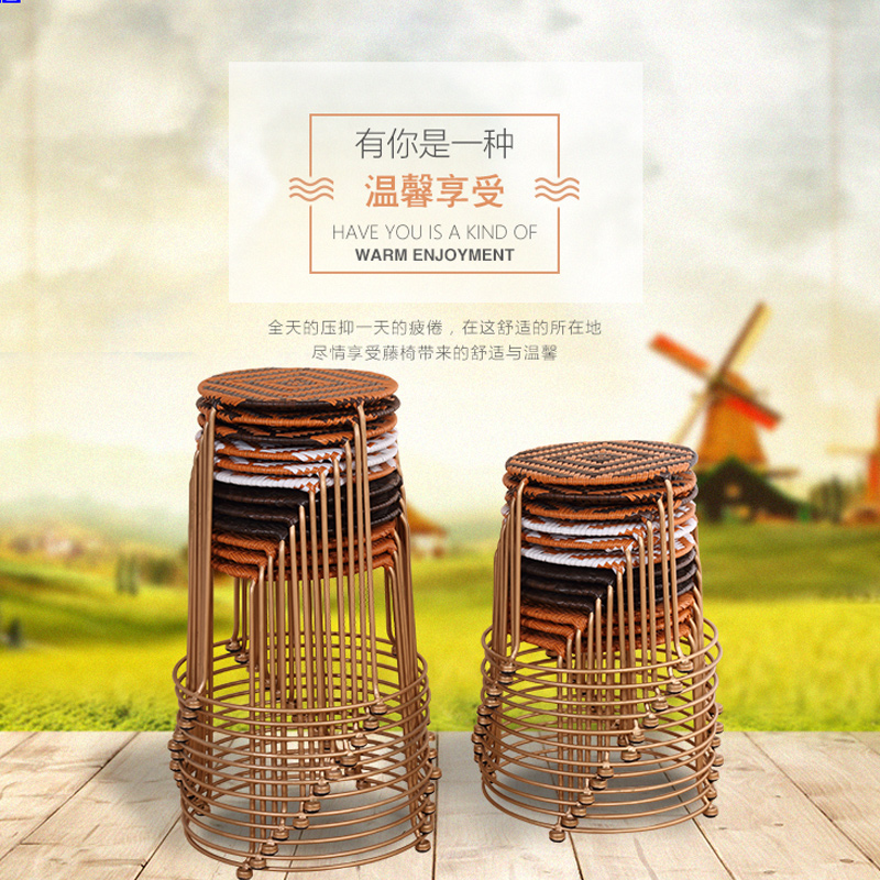 folding chair round leather living room chairs usd 37 59 special solid steel rattan small coffee table stool office