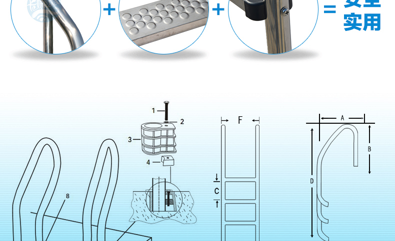 ᗑSWIMMING POOL LADDER QUALITY 3 STEP TREAD STAINLESS STEEL IN BELOW ...