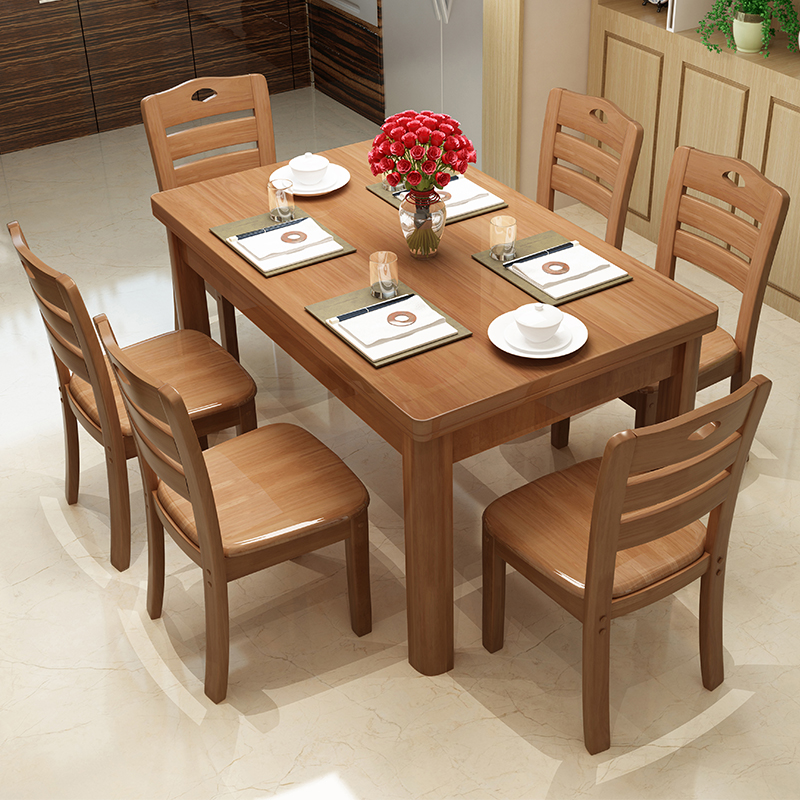 solid oak dining table and chairs fishing chair uk usd 71 25 wood combination rectangular 1 2 m small log western simple modern 6
