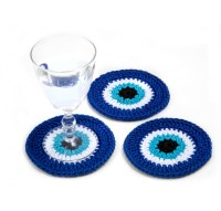 Crochet Evil Eye Drink Coasters Decorative Home Amulet Cup ...