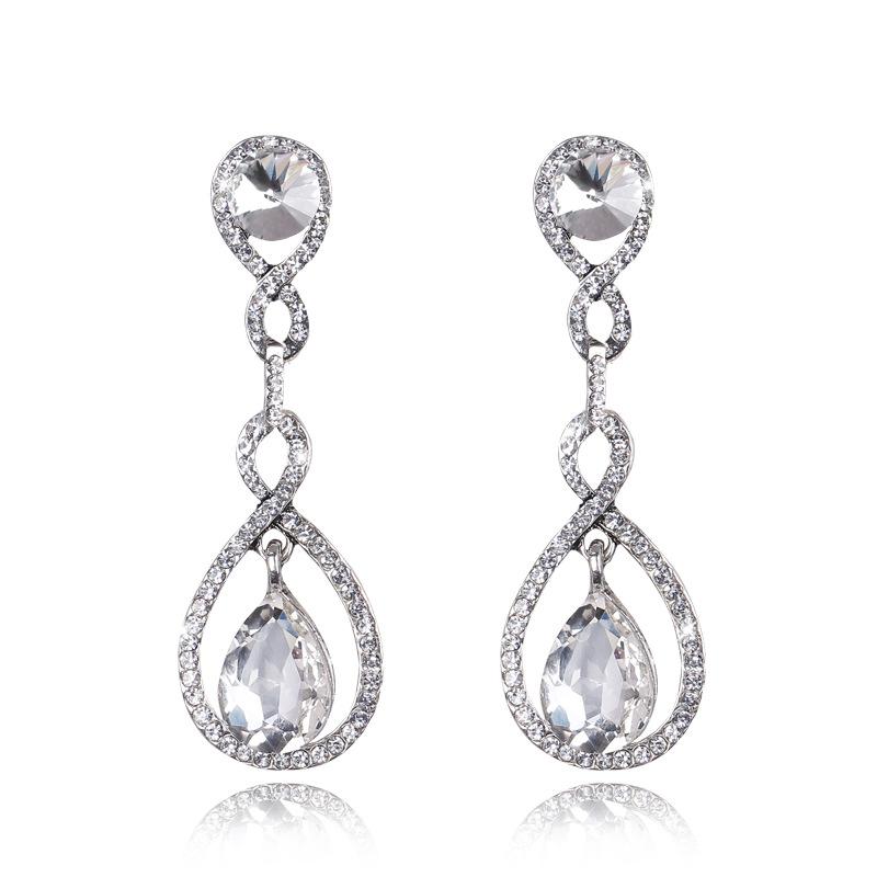 Luxury Bridal Crystal Floral Teardrop Diamante Dangle