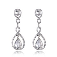 Luxury Bridal Crystal Floral Teardrop Diamante Dangle ...