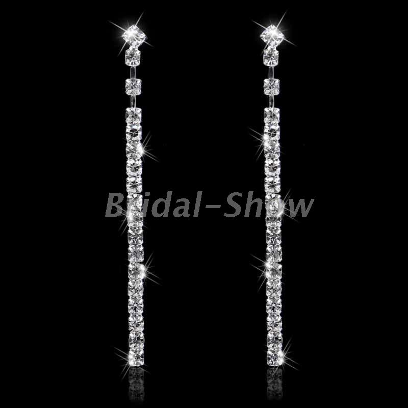 Bridal Silver Diamante Crystal Rhinestone Long Drop/Dangle