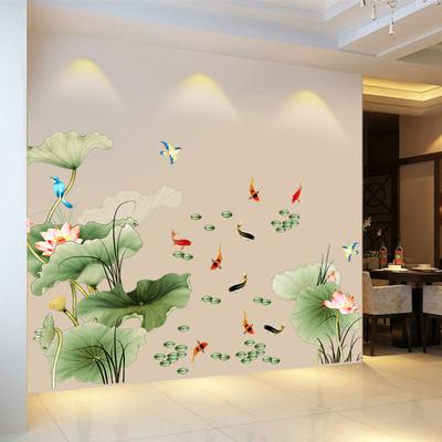 荷花牆貼臥室房間牀頭溫馨背景牆壁裝飾貼紙客廳壁紙牆面自黏貼畫