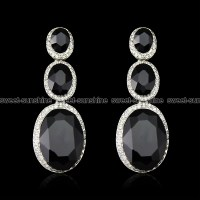Silver Diamante Rhinestone Black Gemstone Long Drop Dangle