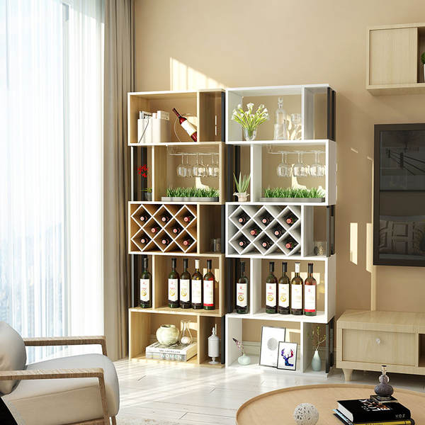 wine rack in living room ideas for decorating a long narrow floor standing cabinet home partition simple creative bar display decoration