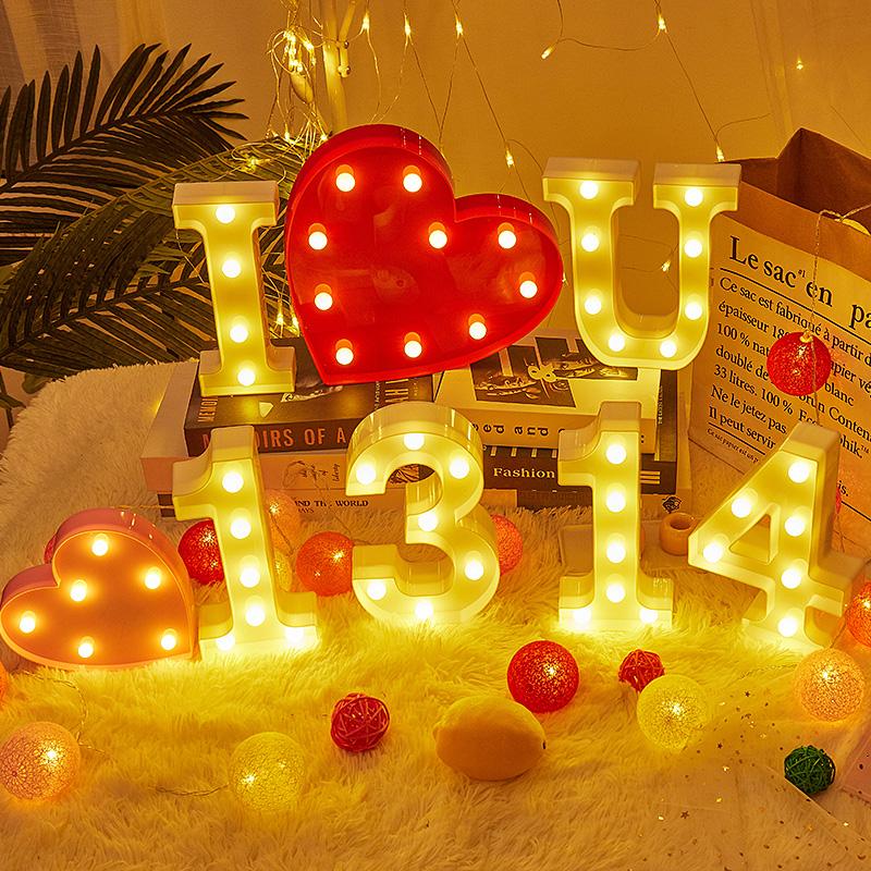 LED發光小夜燈英文字母數字造型燈表白生日佈置兒童室內房間裝飾