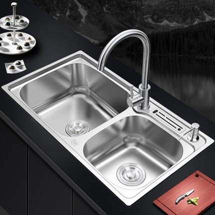 kitchen sinks curtins 肯勒304不锈钢厨房水槽双槽一体成型加厚手工洗碗池洗菜盆套餐 tmall com天猫 肯勒304不锈钢厨房水槽双槽一体成型加厚手工洗碗池