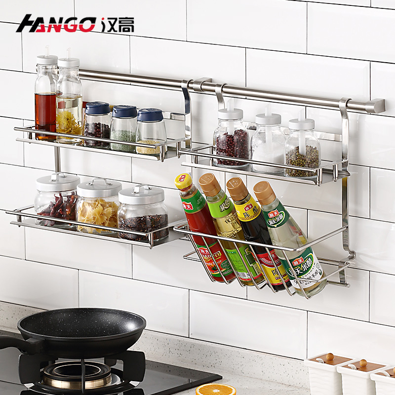 kitchen storage racks cabinet installation usd 91 96 henkel 304 stainless steel pendant oblique bottle rack seasoning wall hanging