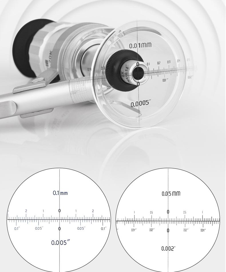 高品GP2010-100 高倍放大鏡顯微鏡專業目鏡高清帶刻度測量尺印刷網板帶燈手持150倍鑑定PEAK10000/20/40/60K