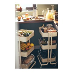 Kitchen Cart Table Two Handle Faucet Repair 原版拉斯克手推车厨房推车床边置物架三层小推车家庭家居床头桌