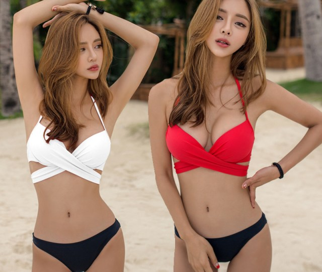 South Korea Hot Sexy Gathering Small Chest Strip Chest Pad Bikini Hot Spring Air Riding Art