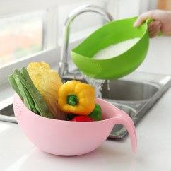 Fruit Basket For Kitchen White Cabinets With Glass Doors Bowl Rice Scouring Washing Sieve Does Not Hurt The Hand Thickening Drain Panning Plastic