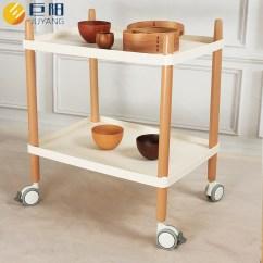Kitchen Cart Table Wood Cabinets 丹麦小推车实木北欧餐车客厅家用多功能边角机桌厨房置物储物架 厨房推车桌