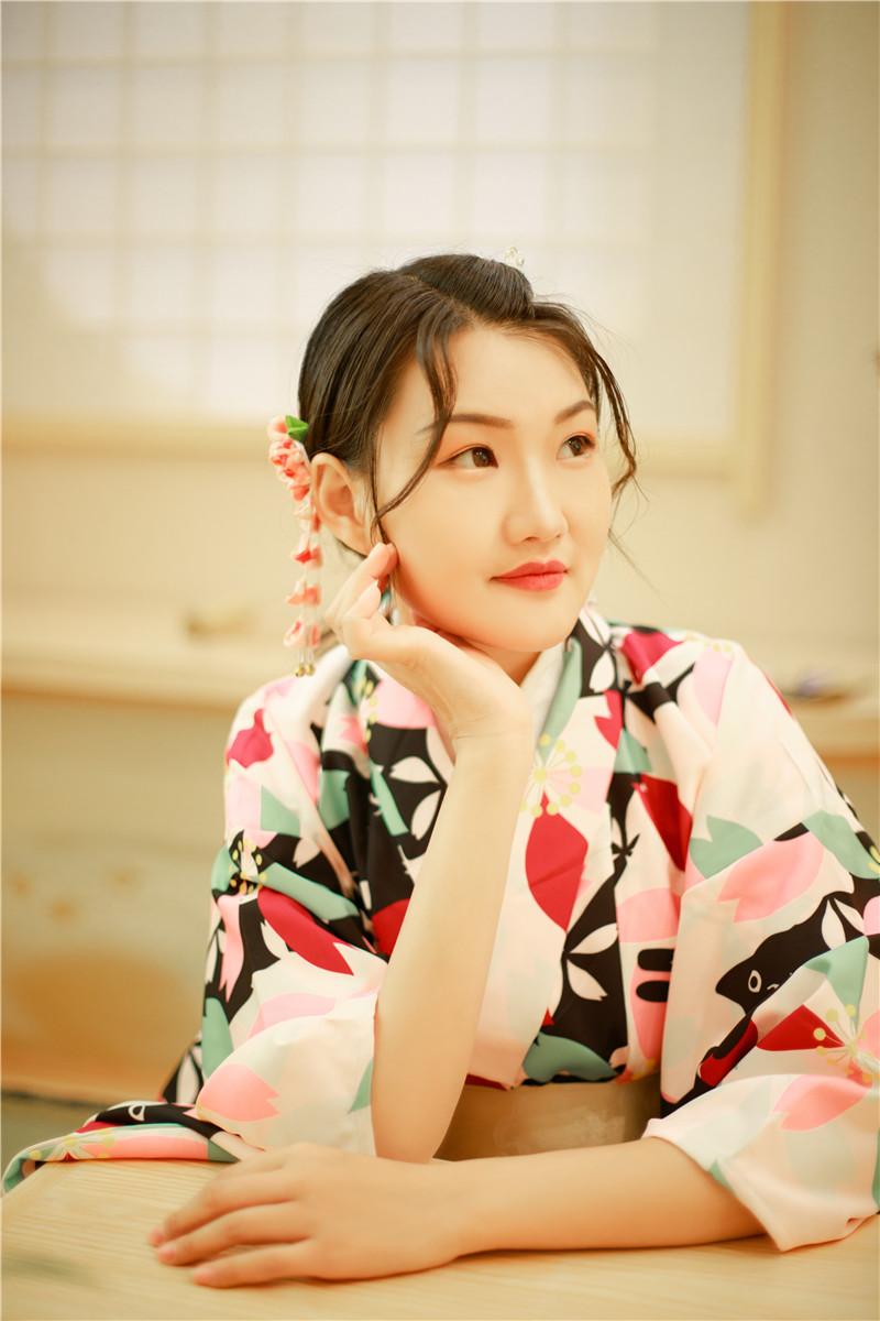日本女士和服浴衣可愛貓咪和服聚酯纖維印花旅遊復古寫真改良現貨