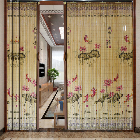 printing bamboo curtain sliding door