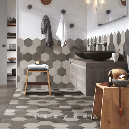 wall tile kitchen renovations ideas 复古六角砖北欧花砖卫生间墙砖厨房地砖水泥灰色艺术小花砖瓷砖 tmall com天猫