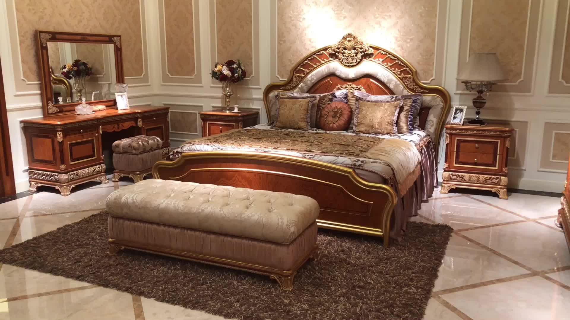 Antique Luxury Italian Classic Solid Wood Bedroom