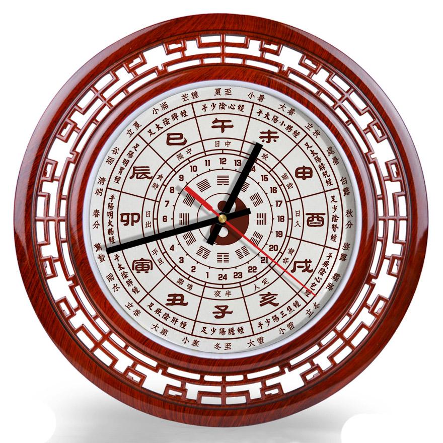 包郵24小時制十二時辰掛鐘子午流注經絡太極中醫養生傳統文化掛表