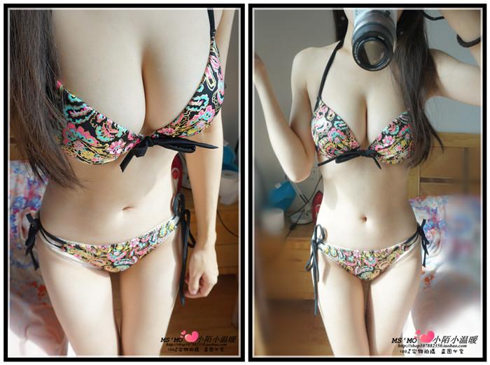 歐美溫泉性感黑色鋼託聚攏大胸小胸沙灘三點式比基尼三件套泳衣女