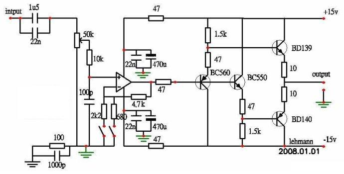 2016 The new Lehmann amp amp / headphone amplifier circuit