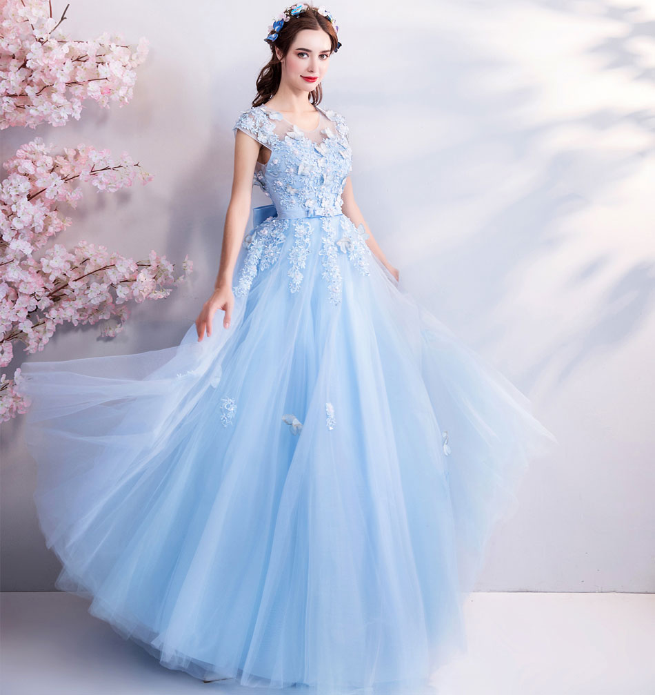 天使嫁衣仙氣蝴蝶藍色新娘結婚敬酒服宴會年會婚紗禮服 3918