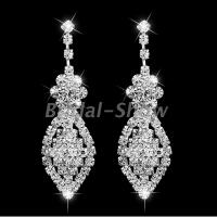 Bridal Silver Diamante Crystal Rhinestone Long Drop/Dangle