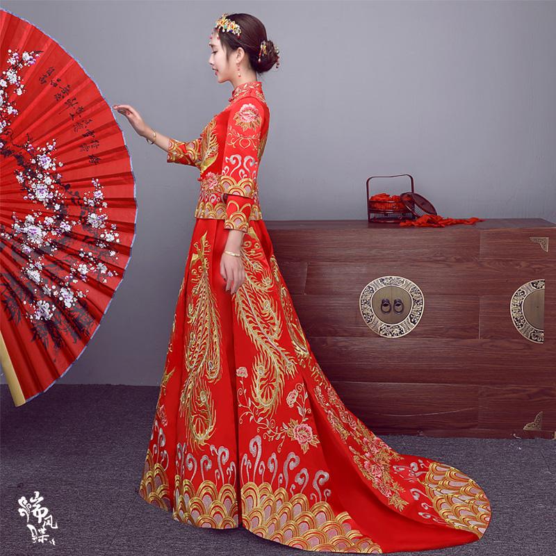 秀禾服2017新款新娘結婚嫁衣禮服龍鳳褂古裝中式婚紗秀和服敬酒服_Q友網