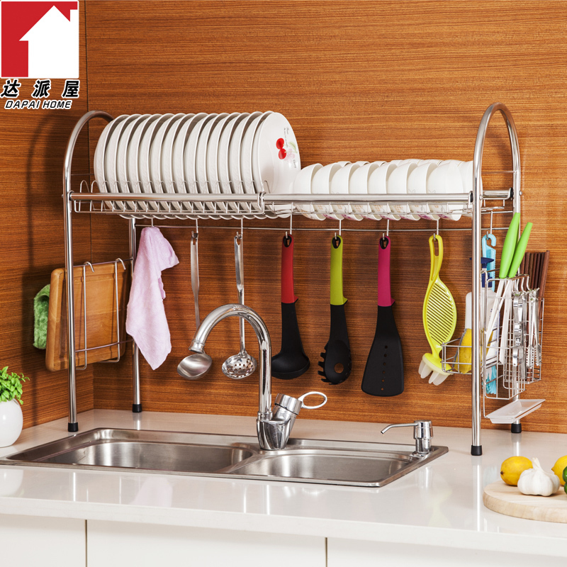 small kitchen sinks high table set 装修新房小厨房大台面水槽上方收纳架平放落地304不锈钢碗架沥水 小厨房水槽