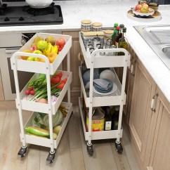 Kitchen Trolley Cart Collapsible Table 厨房推车淘宝价格比价 3369笔 爱逛街台湾代购 厨房手推车夹缝置物架调料架三层移动落地收纳架子蔬菜篮厨房